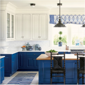 kitchen-design-in-woodstock-ga-cobalt-blue-base-cabinets-ivory-top-cabinets-butcher-block-island