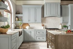 kitchen-remodel-in-Woodstock-ga-kraftmaid-seafoam-blue-maple-cabinets-kitchen-island